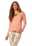 AJC Damen Langarmshirt Shirt Langarm Pullover Bluse Tunika lachs 622915