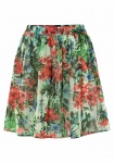 Aniston Damen Chiffonrock Rock Mini Skirt Minirock Blumen-Muster Bunt 443503