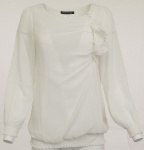 Ashley Brooke Damen Chiffonbluse Bluse Tunika Shirt Langarm Cremeweiss 006879