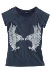 Arizona Damen T-Shirt Adler kurzarm Top Tunika Shirt Aufdruck marine 282084