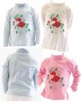 Kinder Mädchen Rollkragenpullover Shirt Langarm Pullover Rosen BFL-HN-02