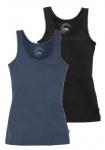 FLG Top Tank Doppelpack Spitze Shirt ärmellos Tanktop blau schwarz 36/38 627002