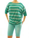Rainbow Damen Boucle-Shirt kurzarm Streifen Tunika dunkelsmaragd 40/42 957049