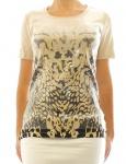 BPC Damen Shirt kurzarm Pailletten Print Tunika Bluse beige 922005