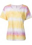 Rainbow Damen Shirt Kurzarm T-Shirt Tunika Top Farbverlauf gelb rosa 941828