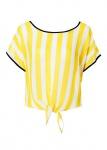 Rainbow Blusenshirt Kurzbluse Streifen Bluse Binden Tunika Shirt Top 903997