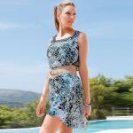 Chillytime Elegant Vokuhila Chiffon Kleid Leo Muster Pailletten blau 42 814291