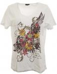 m.i.m T-Shirt V-Neck Nieten Print Tunika Bluse Top Shirt weiß Gr. 44/46 696416