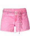 Rainbow Shorts Hot Pants kurze Hose Bermuda Fransen Bindegürtel pink 34 938716