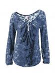Linea Tesini Damen Spitzenshirt Shirt Bluse Tunika 3/4 Arm Spitze Blau 067787