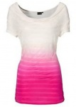 Bodyflirt Shirt Wasserfall-Ausschnitt Tunika Bluse Farbverlauf ecru pink 929661