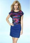 Damen Bleistiftrock Rock kurz Skirt Stretch blau schwarz Gr. 34 36 38 42 394189