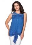 Sheego Damen Bluse mit Spitze Blusentop Top Shirt ärmellos Zipfel blau 825216