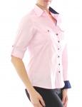 Damen Bluse Hemd Langarm Shirt Business Rosa Baumwolle 299