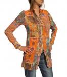 Rick Cardona Damen Longbluse Bluse Tunika Hemd Shirt Paisley Muster 067343