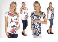 Umstandsshirt Shirt Umstand Bluse Tunika Top kurzarm Schwanger Blumen-Print
