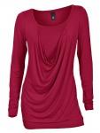 B.C. Damen Rundhalsshirt Shirt Bluse Tunika langarm Pullover rot Gr. 34 085816