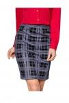Damen Karorock Knielang Skirt Rock Karo Stretch lila schwarz Gr. 34 40 44 780037