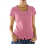 B.C. Damen Shirtjacke Jacke Shirt Ziersteinchen kurzarm rosa 031940