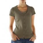 B.C. Damen Shirtjacke Jacke Shirt Ziersteinchen kurzarm oliv Gr. 38 031767