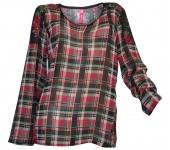 Sheego Blusenshirt Shirt Chiffon Bluse langarm Tunika Karo rot schwarz 744072