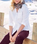 Cheer Damen Crinklebluse Kragenlose Bluse Hemd Shirt langarm weiß 818731