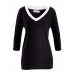 BPC Damen Shirt Tunika 3/4 Arm Bluse schwarz weiss Gr. 36/38 976438