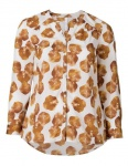 Sheego Damen Bluse Longbluse Shirt Blumen Muster Übergröße langarm weiß 451045