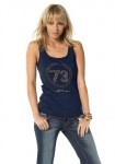 Arizona Damen Top Tank Tanktop Trägertop Träger Shirt Nieten blau 686535