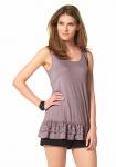 Aniston Damen Top Spitze Shirt Tanktop Longtop ärmellos Volant violett 837326