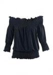 Venice Beach Damen Carmenshirt Shirt Bluse Tunika Strandshirt schwarz 297603
