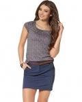 FLG Damen T-Shirt Blumen-Muster Bluse Top Tunika kurzarm grau 513487