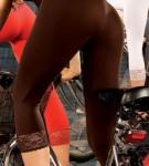 Capri Leggings Leggins Spitze 90den Schwarz Rot S M L