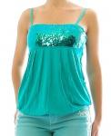 Rainbow Damen Bandeautop Top Pailletten Shirt ärmellos smaragd 32/34 945392