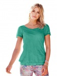 B.C. Damen Rundhalsshirt Shirt kurzarm Gummizug Tunika T-Shirt Top grün 008091