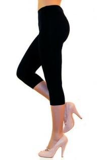 Damen Capri 3/4 Leggings Leggins Baumwolle Hose Wäsche hoher Bund - Vorschau 2