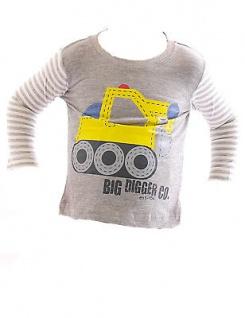 cheaper f856a 8c4c1 Kinder Baby Shirt Langarm Streifen Pullover Sweatshirt Pulli Bagger Digger-5