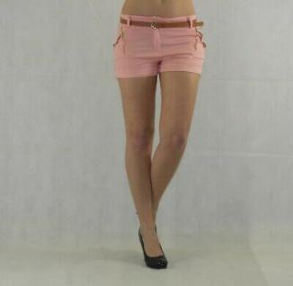 Damen Shorts mit Gürtel Hot Pants kurze Hose Bermuda Stretch - Vorschau 5