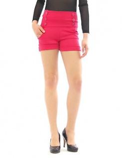Shorts hoher Bund mit Taschen seitlich Taille kurze Hose Hot Pants Mini - Vorschau 5