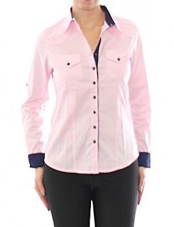 Damen Bluse Hemd Langarm Shirt Business Rosa Baumwolle 299 - Vorschau 2