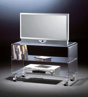 Hochwertiger Acryl-Glas TV-Wagen / TV-Tisch mit 4 Chromrollen, klar, 80 x 40 ...