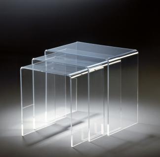 Hochwertiger Acryl-Glas Dreisatztisch, klar, 44 x 29, 5 cm, H 42, 5 cm und 39 x...