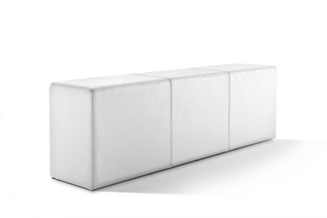 Pomp Bank, echtes Leder, schneeweiß, B = 150 cm, T = 33 cm, H = 47, 5 cm, Sitz...
