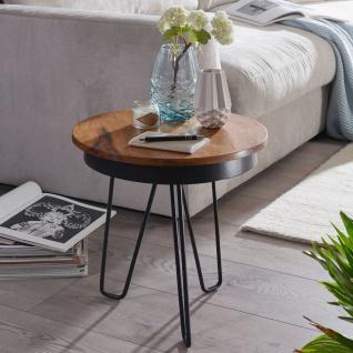 Beistelltisch 43x45x43 cm, Sheesham Holz, Metall Couchtisch, Industrial Style...