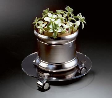 Hochwertiger Acryl-Glas Blumenrolli mit 3 Chromollen, klar, Ø 30 cm, Acryl-Gl...