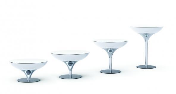 Moree Lounge Tisch beleuchtet, Ø 84 cm, H 75 cm, ABS glänzend, weiß transluze... - Vorschau 3