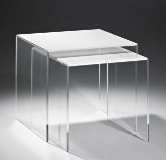Hochwertiger Acryl-Glas-Glas Zweisatztisch, klar / weiß, 40 x 33 cm, H 36 cm ...