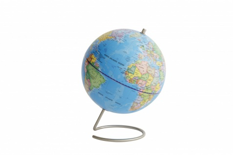 Moderner Globus / Weltkugel / Magnet, hellblau, aus Edelstahl und Kunststoff,...