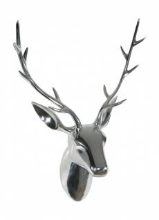 Designer Deko Geweih / Trophäe / Hirschgeweih mit Kopf aus Aluminium, handpol...