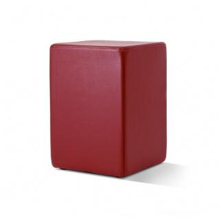 Pomp Lederhocker, echtes Leder, bordeaux, B = 33 cm, T = 33 cm, H = 47, 5 cm, ...